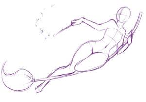 Riding a broom pose