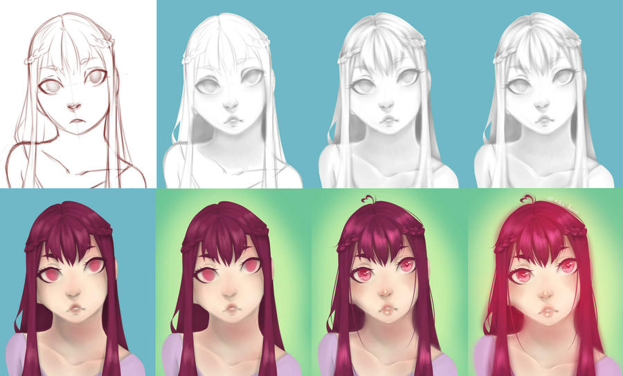 Portrait Process by rika-dono