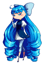 Blue twirly-hair