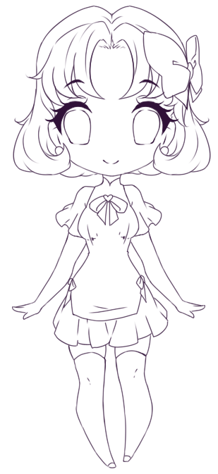 Pink Old Oc Chibi -Lineart by rika-dono
