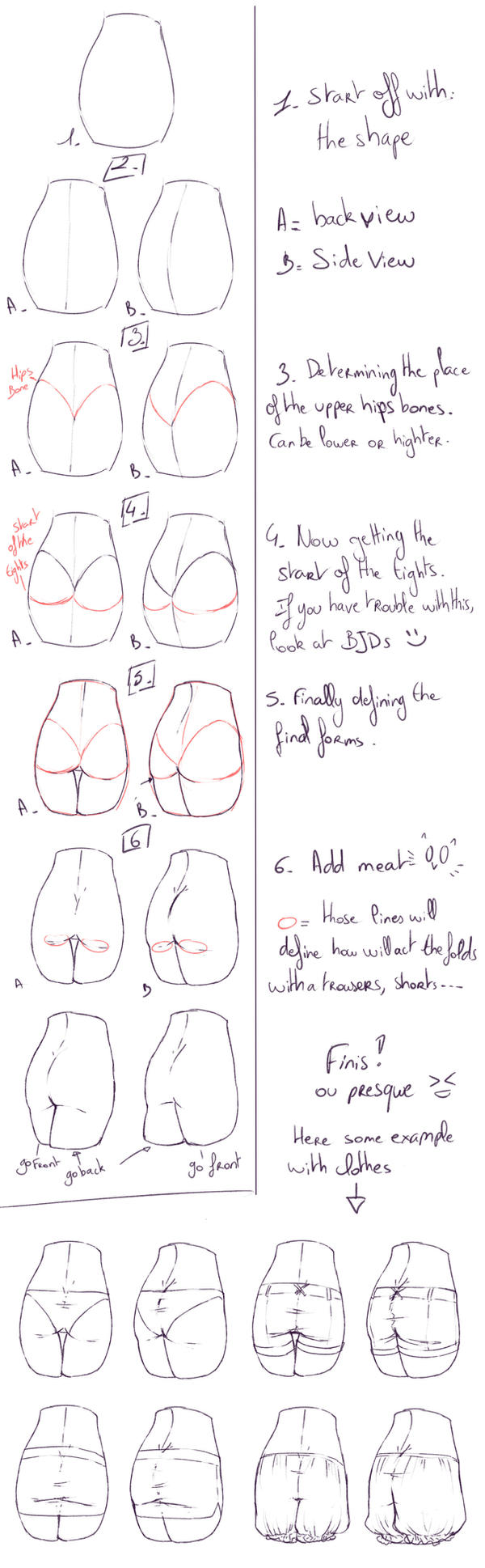 how to draw female buttocks