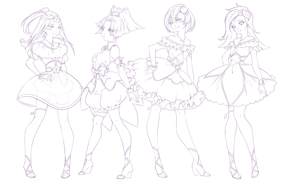 Line Art Group : Magical girls regular group lineart by rika dono on
