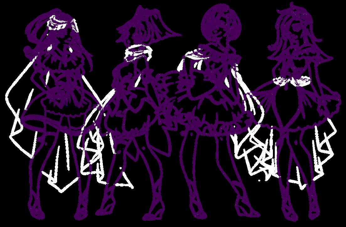Line Art Anime : Magical girls regular group lineart by rika dono on deviantart