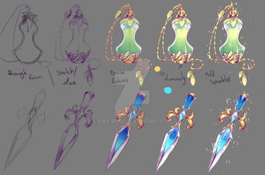 How I drew - Perfume Bottle and Dagger
