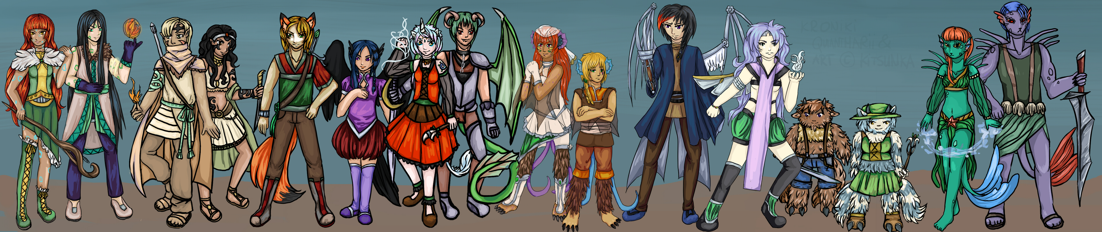 KQ: All original races of Quantharia by Kitsunka