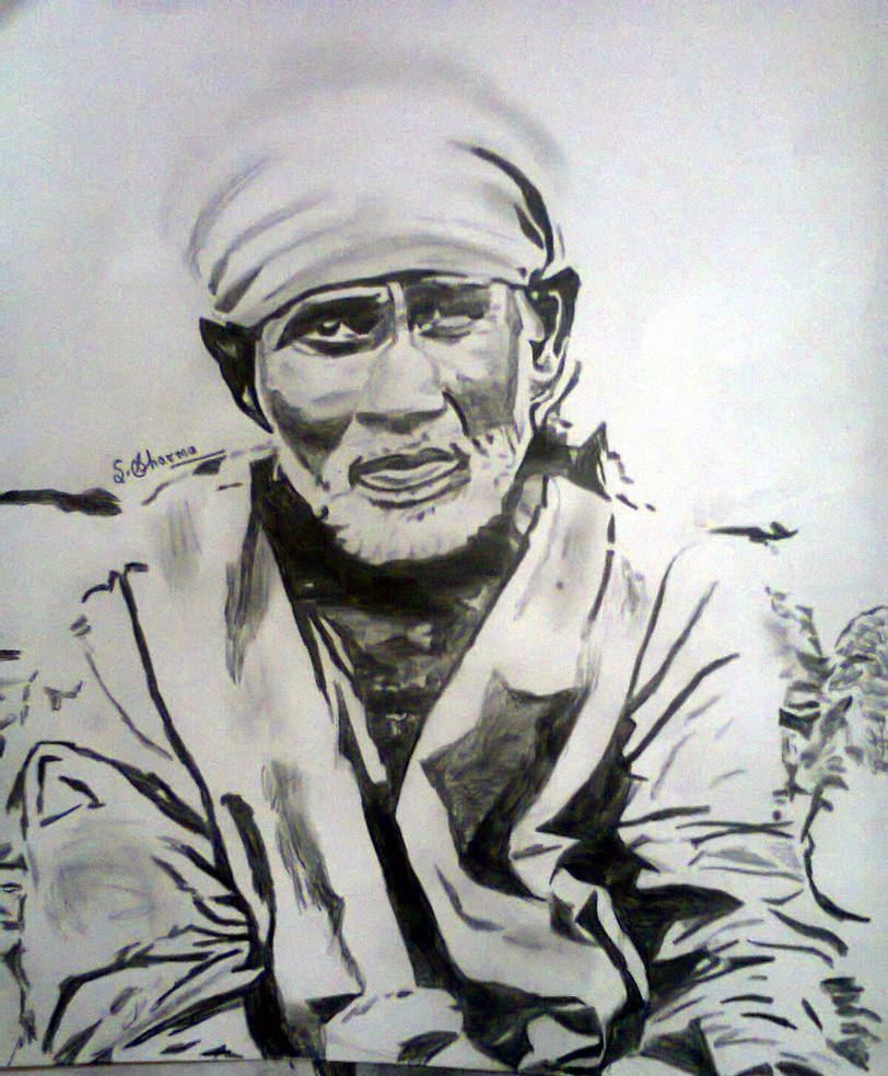 Pencil sketch of sai baba by simpleartfou on deviantart