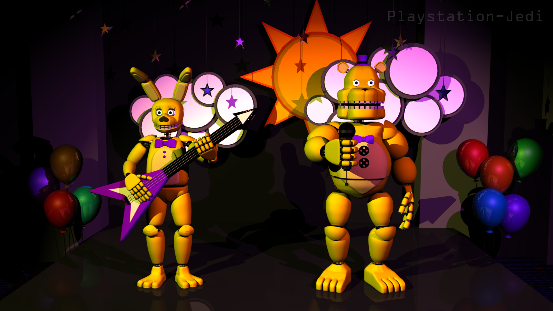 Fredbear and spring bonnie 3d models unfinished by playstation jedi