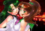 Sailor Jupiter and Pluto by Arev-San