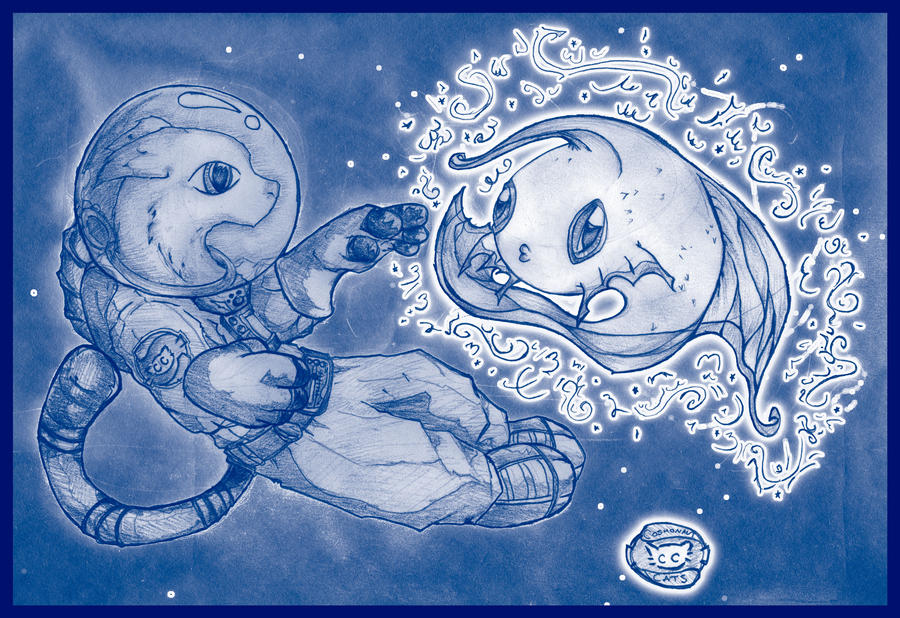 Cosmonaut-Cat + Star-fish by Logskan