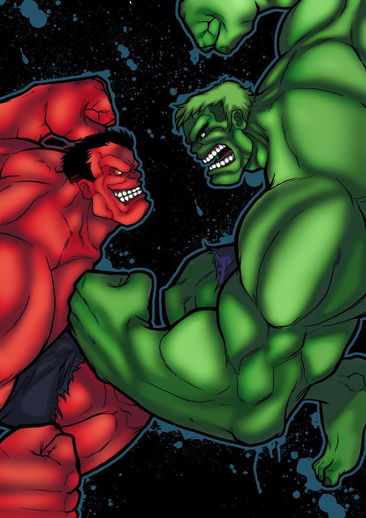 Red Hulk vs Green Hulk II by xXNightblade08Xx on DeviantArt