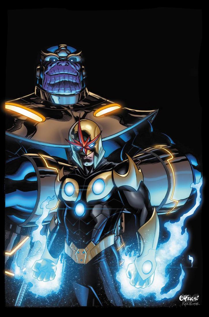 Nova and Thanos by xXNightblade08Xx