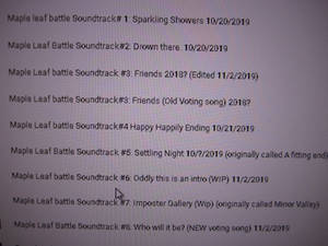 Maple Leaf Battle Soundtracks Wip (read desc)