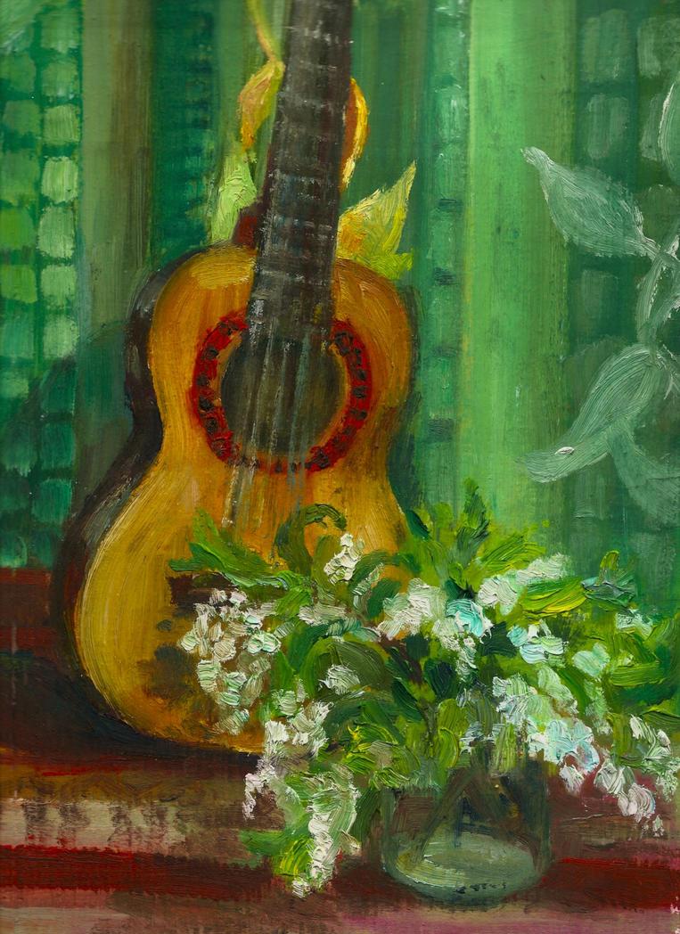 Guitar and  the bird-cherry by Chukki-kukki