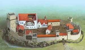 European medieval fortified castle