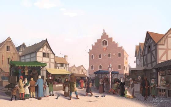 Medieval market scene