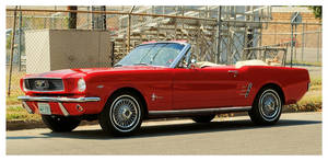A Cool Red Mustang Convertible
