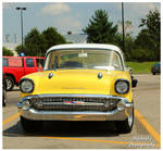 A Yellow and White 1957 Chevy