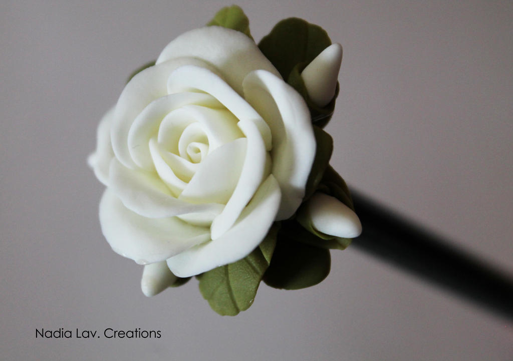 Pencil with WHITE ROSE in pasta di mais by CaterinaOrlando