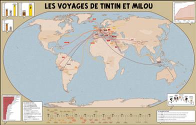 Carte des Voyages de Tintin et Milou