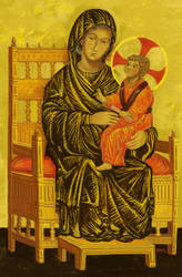Enthroned Madonna and Child by larkinheather