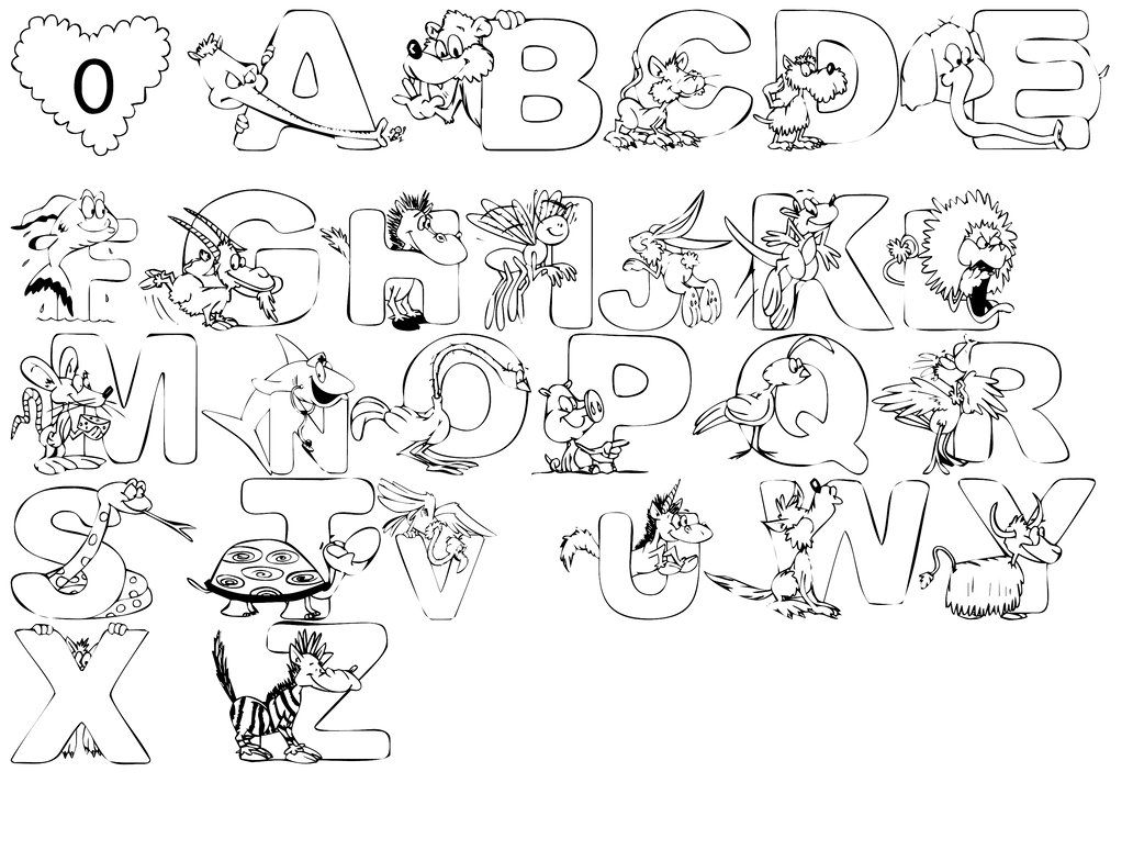 Animals alphabet by spooky dream on deviantart for Learning planet alphabet coloring pages