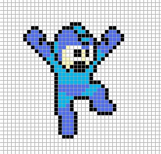 mega man pixel art grid