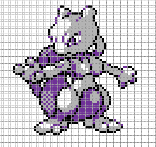 Mewtwo Pixel Art Grid by Hama-Girl