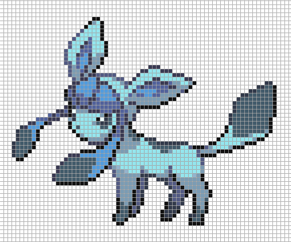 Glaceon by hama girl on deviantart for Umbreon pixel art template