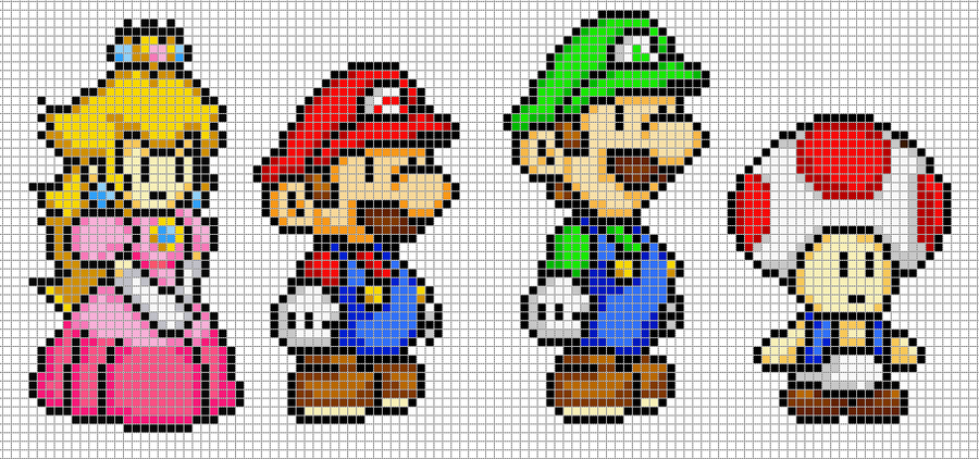 Templates on pixel craft deviantart hama girl 14 1 mario luigi peach and toad by hama girl pronofoot35fo Image collections