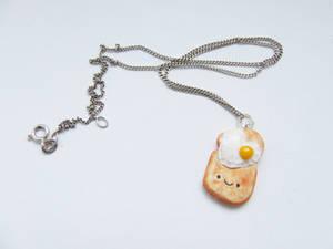 Toast and Eggs Kawaii Necklace