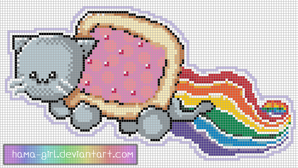 Nyan Cat Pixel Art Template By Hama Girl On Deviantart