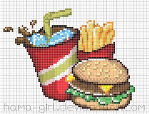 Fast Food Meal Pixel Art Grid