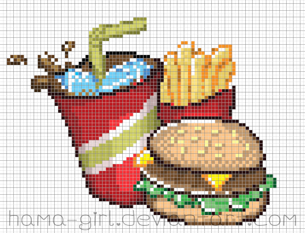 Fast Food Meal Pixel Art Grid By Hama Girl On Deviantart