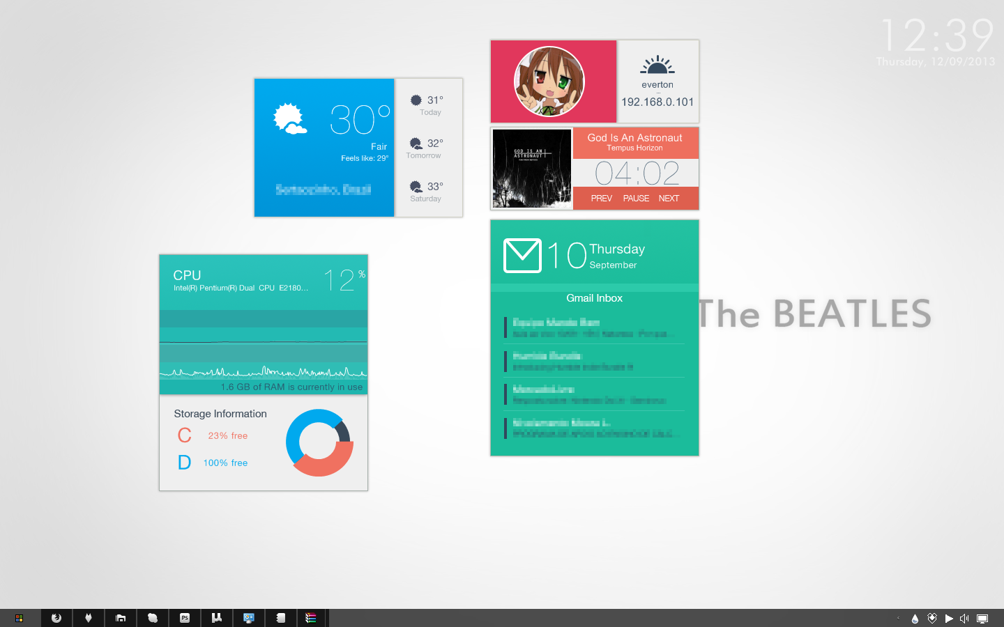 Gmail themes beatles - July Flat Ish For Rainmeter Preview By Evertonstz
