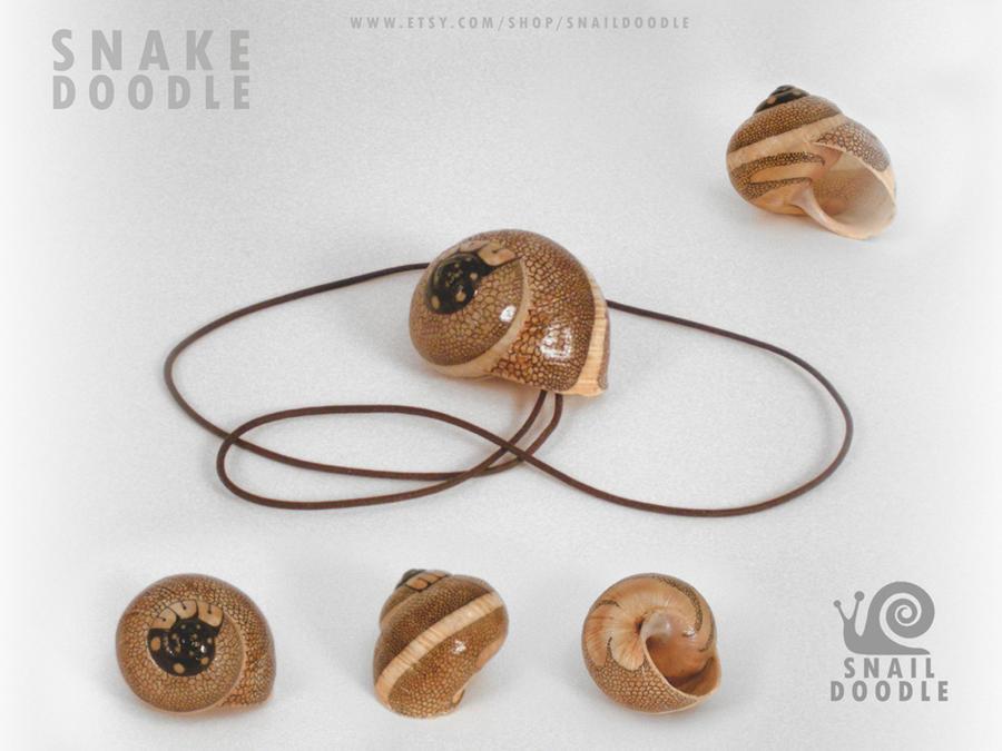 Necklace snake doodle snail shell by Darkleaf333