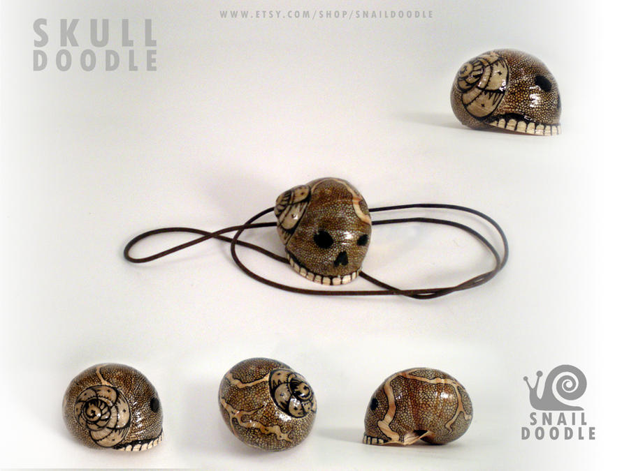Necklace skull doodle snail shell by Darkleaf333
