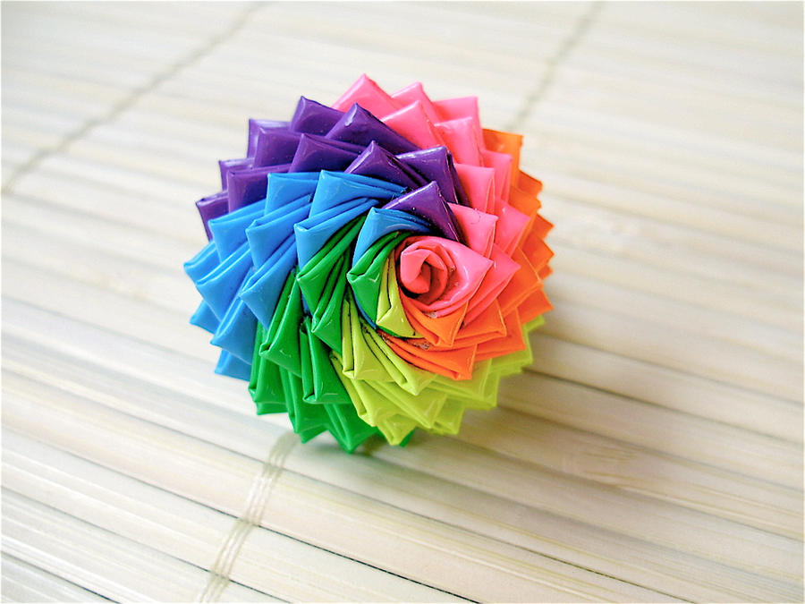 Rainbow duct tape rose ring by quietmischief d3pb9vo