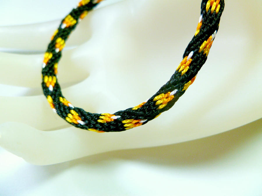 Candy Corn Kumihimo Friendship Bracelet by QuietMischief