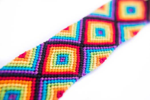 Neon Rainbow with Black Friendship Bracelet