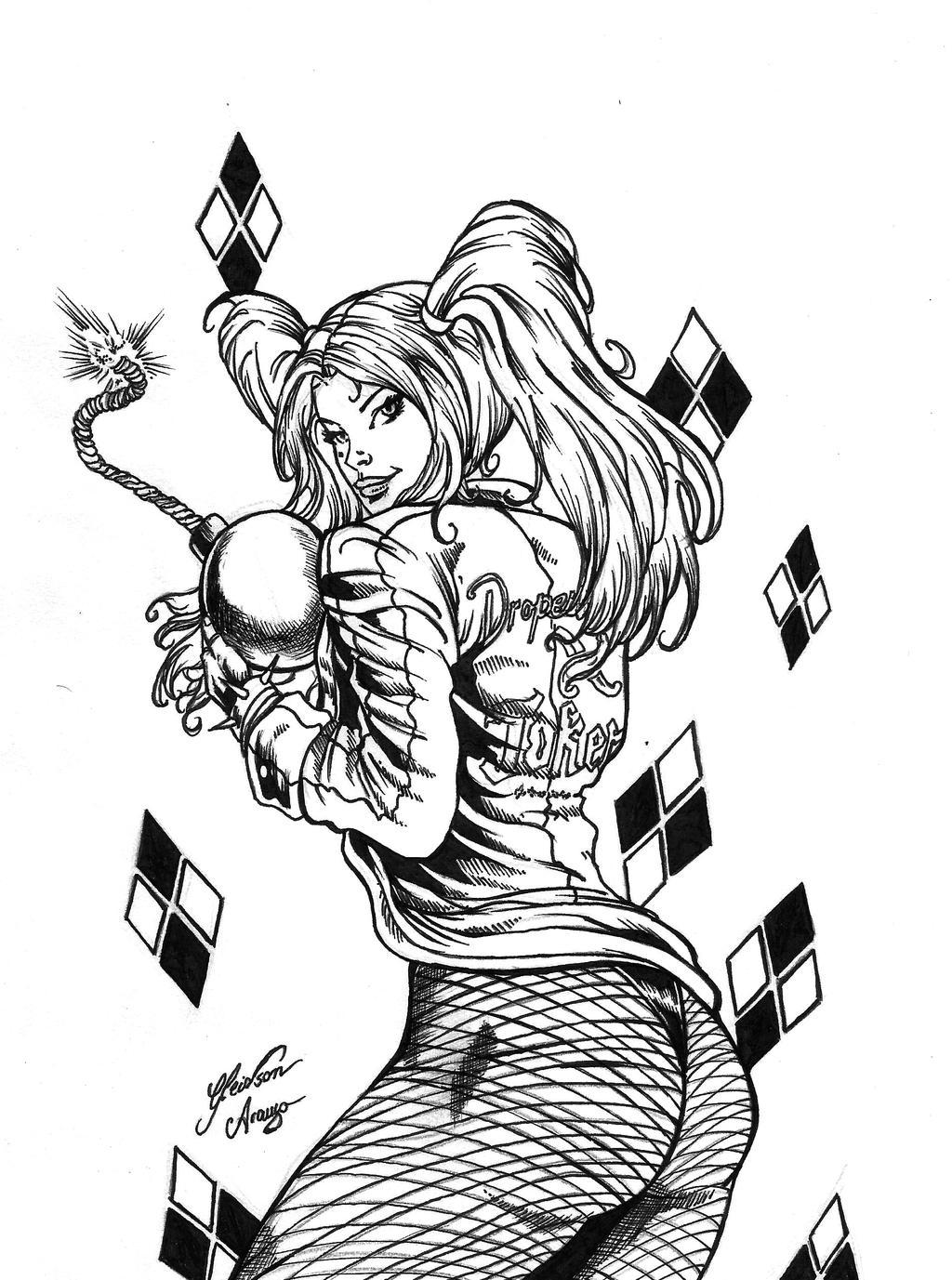 Quinn Line Art : Harley quinn ink by gleidsonaraujo on deviantart