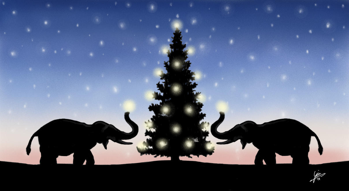 Christmas Elephants by gjones1