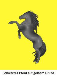 Schwarzes Pferd - gelbem Grund