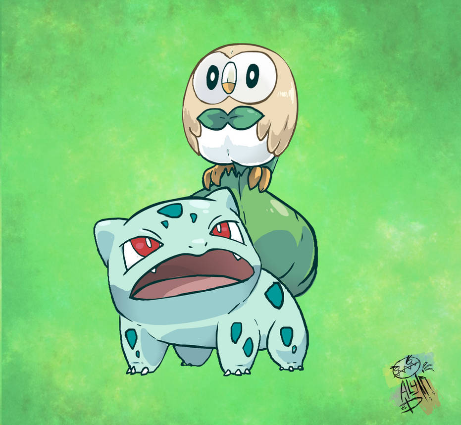 Bulbasaur and Rowlett ! grass type starters ! by WaniOWani