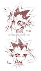 Yugi and Atem headshot sketch