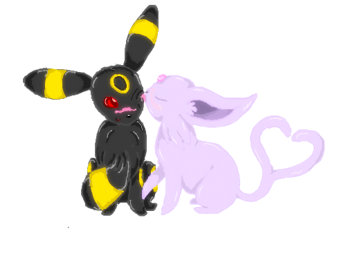 Espeon and Umbreon kiss by Mirera on DeviantArt