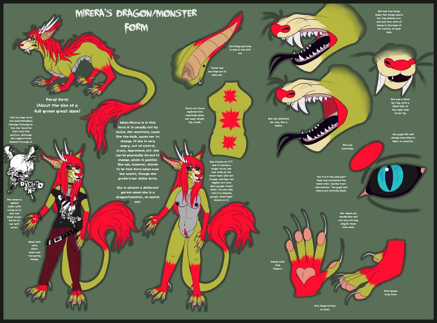 Mirera's dragon/monster Reference sheet 2012 by Mirera