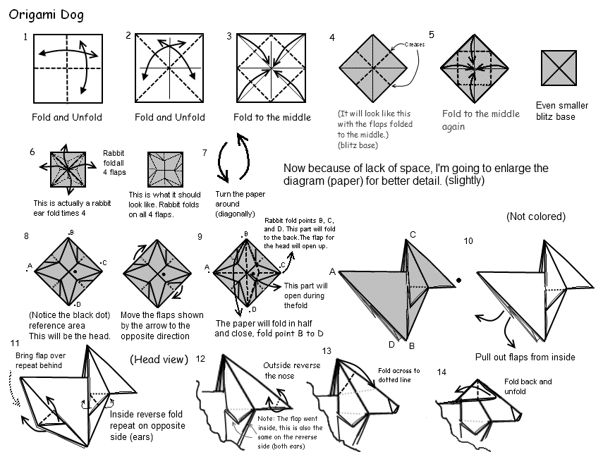 origami dog practice part 1 by dancingslinky on deviantart
