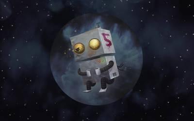 SPACETIME 3 - Space Robot Five by simondrawsstuff