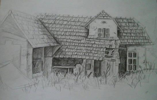 Ruined house - Plain-air Drawing