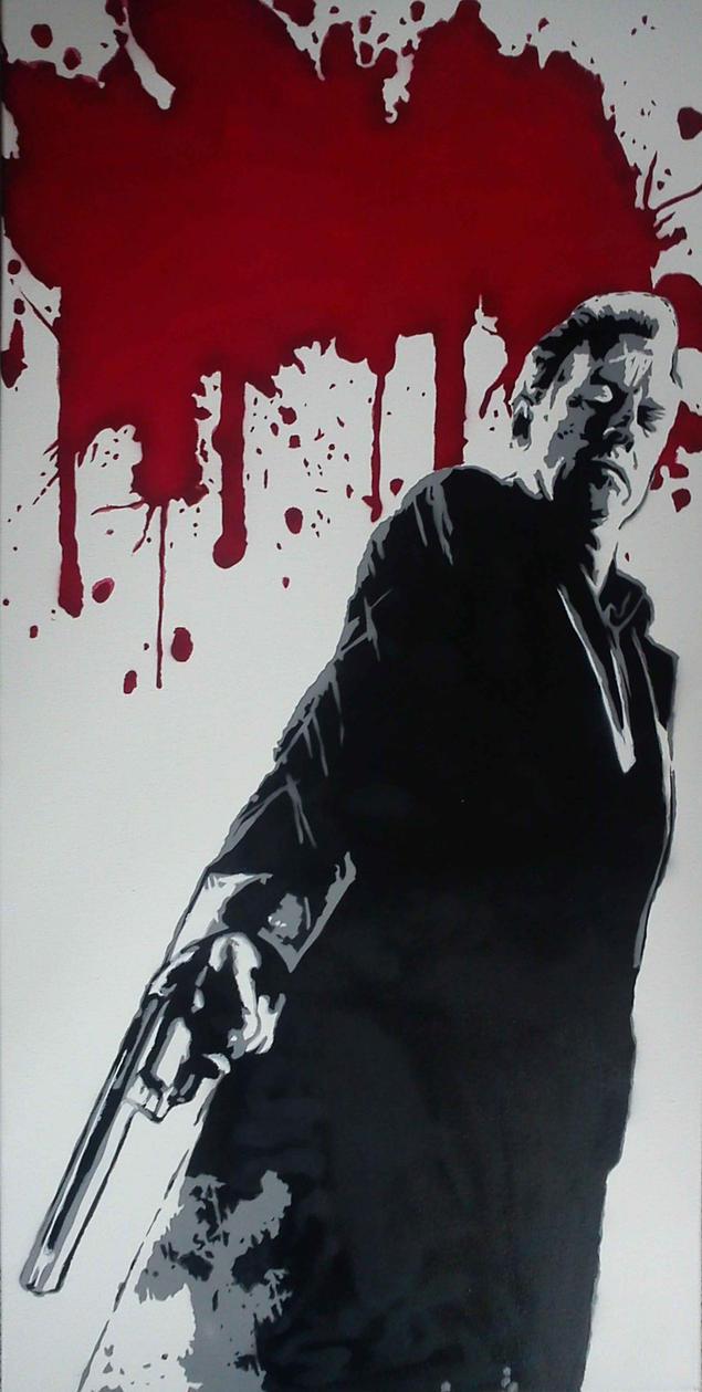 Stencil Bruce Willis Sin City by Burgi687